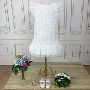 Vestido de bebê festa Petit Cherie batizado luxo renda e tule branco Tamanho P