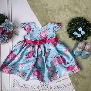 Vestido de bebê de festa Petit Cherie floral azul e pink luxo Tamanho P