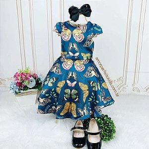 Vestido infantil de festa Petit Cherie borboletas azul petróleo