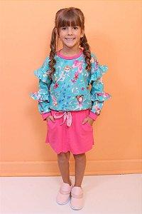 Conjunto infantil Mon Sucré moletom e saia bailarina fada azul e pink Tamanho 1