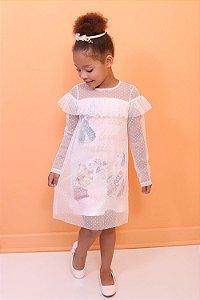 Vestido infantill Petit Cherie manga longa tule poá branco borboletas