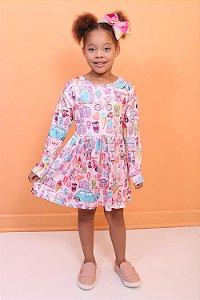 Vestido infantil Mon Sucré menininha de férias com lata de cofrinho rosa