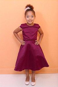 Vestido infantil de festa Petit Cherie bordado luxo marsala
