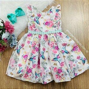 Vestido de festa infantil Petti Cherie floral e beija-flor Tam 3
