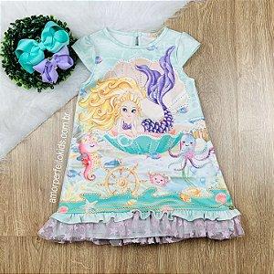 Vestido infantil Petit Cherie de sereia fundo do mar Tamanho 2