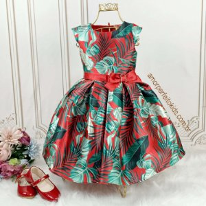 Vestido infantil de festa Petit Cherie folhagem vermelho e verde Tam 1