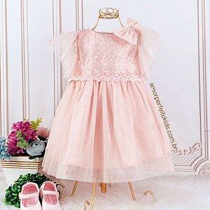 Vestido de festa bebê Petit Cherie renda e tule luxo rosa