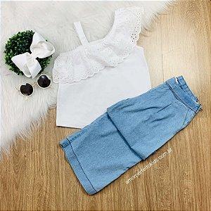 Blusa infantil um ombro com bordado inglês branca da Momi Tamanho 14