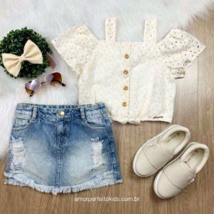 Cropped infantil Momi ombro a ombro laise off white