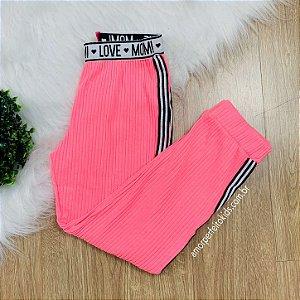 Calça infantil Momi jogger rosa neon com faixa lateral Tam 6