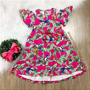 Vestido infantil Momi mullet tropical bananeiras e tucanos pink