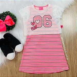 Vestido infantil Momi listrado pink neon com blusa em tela Tamanho 1