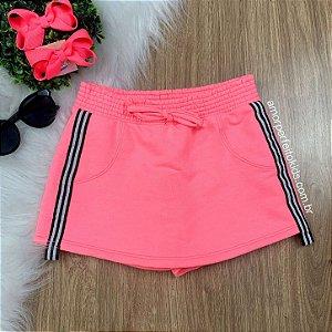 Short-saia infantil Momi rosa neon claro faixa lateral Tam 2