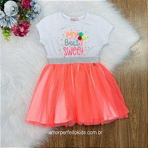 Vestido infantil Mon Sucré my best sweet com tule laranja neon Tam 1