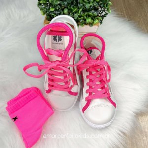 Tênis infantil Xuá Kids trasparente branco e meia pink neon 28 ao 34