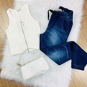 Calça teen jogger de moletom jeans Adele Tam 16