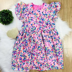 Vestido infantil rosa Mon Sucré jujuba com bolsinha coracão