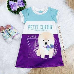 Vestido Petit Cherie infantil Lulu cachorrinho roxo e azul Tamanho 3