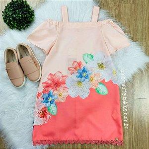 Vestido infantil Petit Cherie casual ciganinha floral salmão