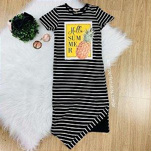 Vestido infantil Petit Cherie midi listrado abacaxi Tamanho 16