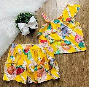 Conjunto infantil Mon Sucré saia e blusa vegetais e sorvete Tamanho 2