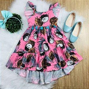 Vestido infantil rosa Mon Sucré mullet de coco folhagem Tamanho 2