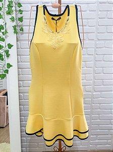 Vestido Teen Lilimoon de Festa Amarelo com Preto com renda guipir
