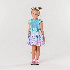 Vestido de festa infantil Mon Sucré sereia com paetê verde Tamanho 2