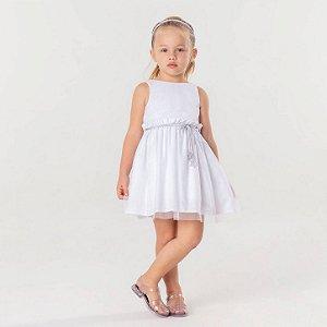 Vestido infantil Mon Sucré tule com brilhinho branco e prata