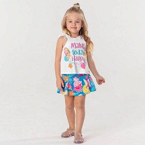 Conjunto infantil Mon Sucré blusinha e short-saia sorvete azul e rosa Tam 2