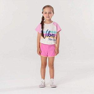 Conjunto infantil Mon Sucré blusa cropped vibes com shorts rosa neon