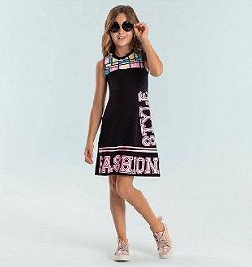 Vestido infantil Petit Cherie casual paetês fashion style preto