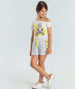 Conjunto Infantil Petit Cherie Blusa fun love smile com shorts
