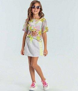 Conjunto infantil Petit Cherie cropped tule neon com top e saia cinza