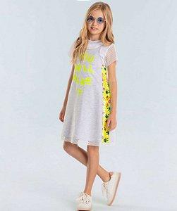 Vestido infantil Petit Cherie casual moletinho cinza e neon paetês com t-shirt