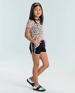 Conjunto infantil Petit Cherie blusa tule cactos com shorts