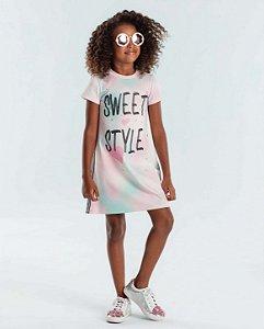 Vestido infantil Petit Cherie casual candy color tie dye rosa