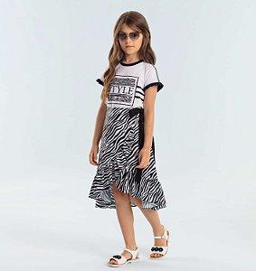 Conjunto infantil Petit Cherie saia midi zebra com blusinha style preto e branco