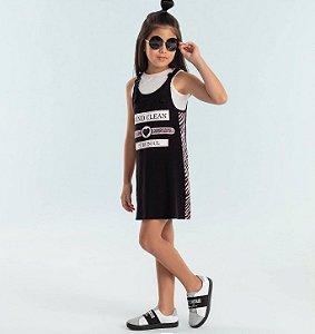 Vestido infantil Petit Cherie salopete com blusinha preta rosa