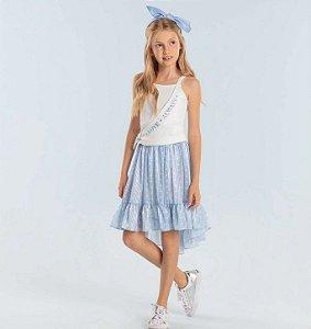 Conjunto infantil Petit Cherie blusinha canelada com saia mullet poá azul