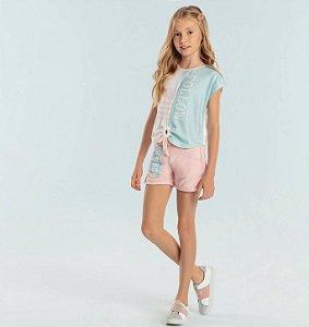Conjunto infantil Petit Cherie blusa e short moletinho confort rosa e verde
