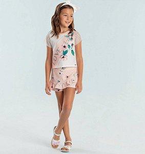 Conjunto infantil Petit Cherie blusa beija flor com shorts floral rosa