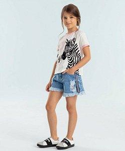 Conjunto infantil Petit Cherie blusa zebra com shorts jeans destroyed