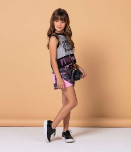 Conjunto infantil menina Petit Cherie blusinha cropped pink girl com short make up rosa e preto