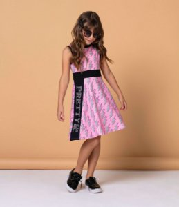 Vestido infantil Petit Cherie casual power girl rosa e preto