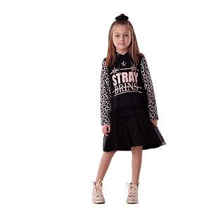 Vestido infantil Petit Cherie manga longa coração preto e rose