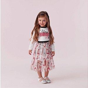 Vestido infantil Petit Cherie casual com saia de tule letras off white e vermelho