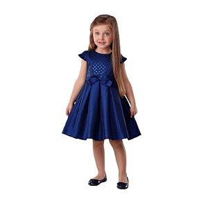 Vestido de festa Petit Cherie clássico azul marinho com paetê