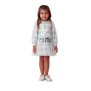Vestido infantil Petit Cherie casual inverno coelhinha tule azul