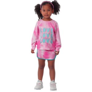 Conjunto infantil Mon Sucré inverno blusa e saia moletom tie dye rosa